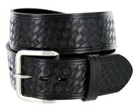 "NEW!!! 4078XL Basket-weave Work Uniform Leather Belt - 1 3/4"" Wide - BLACK"