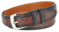 "4255 Contemporary Double Stitched Edge Basket-weave Genuine Leather Office Dress Belt 1-1/4"" wide"