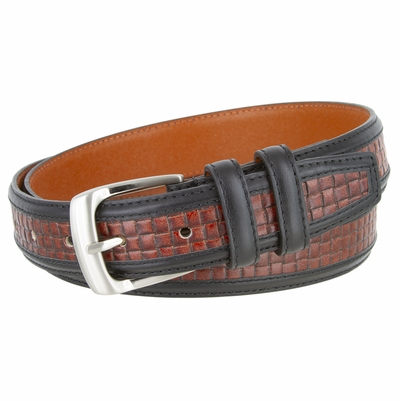 "NEW!!! 4255 Contemporary Double Stitched Edge Basket-weave Genuine Leather Office Dress Belt 1-1/4"" wide"