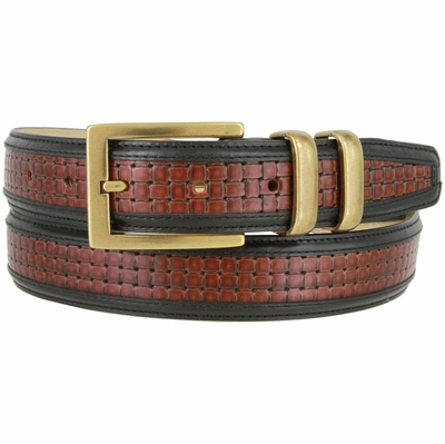 "NEW!!! 4257 Contemporary Double Stitched Edge Basket-weave Genuine Italian Leather Office Dress Belt 1-1/4"" wide"