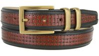 "NEW!!! 4257XL Contemporary Double Stitched Edge Basket-weave Genuine Italian Leather Office Dress Belt 1-1/4"" wide"
