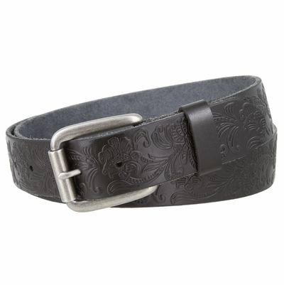 """4447 Casual Floral Embossed Leather Belt - 1 1/2"""" wide Roller Silver Buckle"""