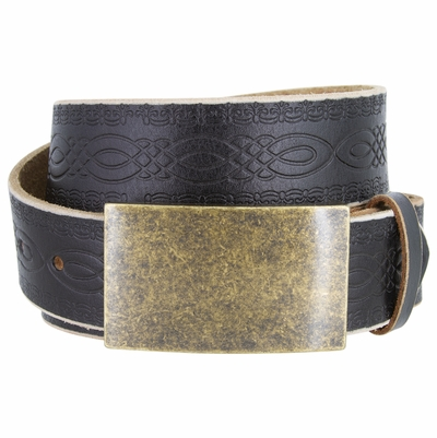 "NEW!!! 4481 Casual Full Grain Tooled Leather Belt - 1 1/2"" wide Antique Brass Buckle"