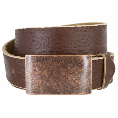 "NEW!!! 4481 Casual Full Grain Tooled Leather Belt - 1 1/2"" wide Antique Copper Buckle"