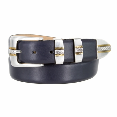 "4485 Italian Designer Leather Dress Belt- 1 3/8"" Wide - 5 Colors Available"