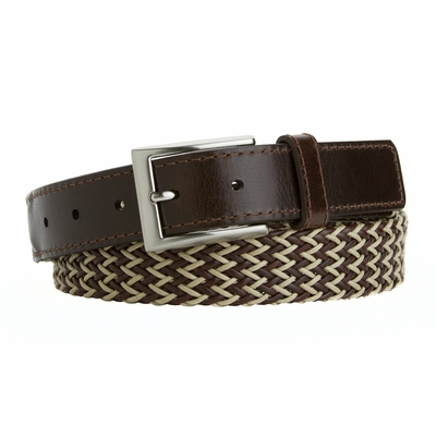13342 Casual Woven Polyester and Leather Braided Beige and Brown - Made in the USA