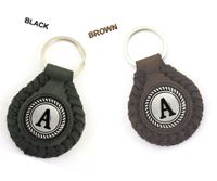 NEW!!! LEATHER BRAIDED KEY FOB ALPHABET KEY RING