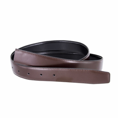 "160507 Reversible Belt Strap Genuine Leather Black/Brown 1 3/8"" (35mm) Wide"