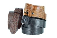 "One-Piece Crocodile Embossed Pattern Full Grain Leather Belt Strap 1-3/8"" (35mm) Wide - Black / Brown / Cognac"
