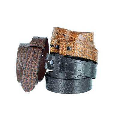 "4337 One-Piece Crocodile Embossed Pattern Full Grain Leather Belt Strap 1-3/8"" (35mm) Wide - Black / Brown / Cognac"