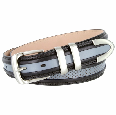 "3329 Perforated Casual Genuine Leather Golf Belt - 1 1/4"" Wide - Black/Gray"