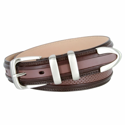 "3329 Perforated Casual Genuine Leather Golf Belt - 1 1/4"" Wide - Brown/DarkBrown"
