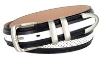 "3329 Perforated Casual Genuine Leather Golf Belt - 1 1/4"" Wide - Navy/White"