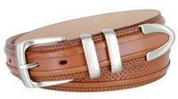"3329 Perforated Casual Genuine Leather Golf Belt - 1 1/4"" Wide Tan"