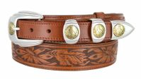 "1029 Ranger Full Grain Floral Embossed Leather Belt Eagle Coin Buckle Set - 1 1/2 - 1"" Wide"