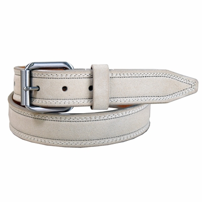 "31704  Suede Leather Dress Belt 1-3/8"" Wide Made in USA - Beige"