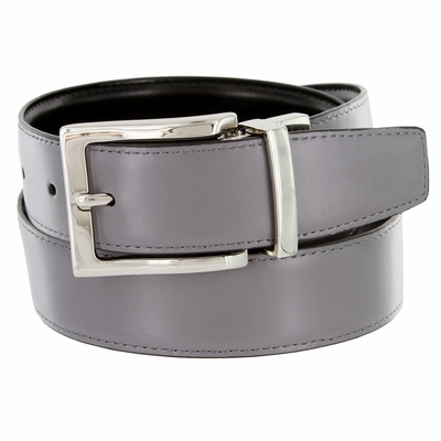 "RS7 Men's Reversible Leather Dress Belt 1 3/8"" - GRAY/BLACK"