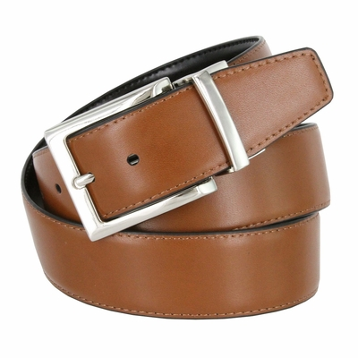 "RS7 Men's Reversible Leather Dress Casual Belt 1-3/8"" wide - Black/Tan"