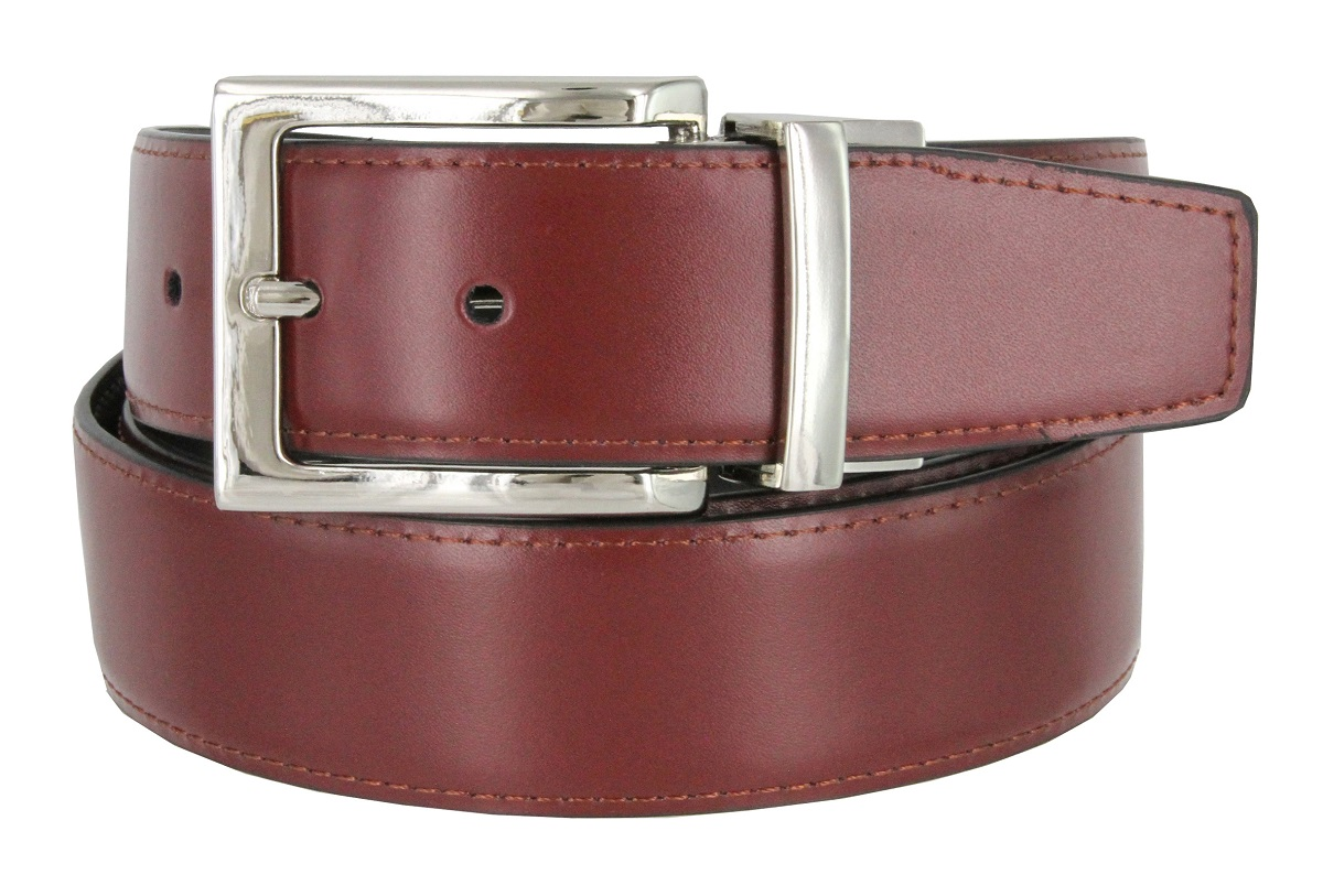 """Men/'s Reversible Black and Tan Casual Leather Dress Belt Strap 1-3//8/"""" Wide"""
