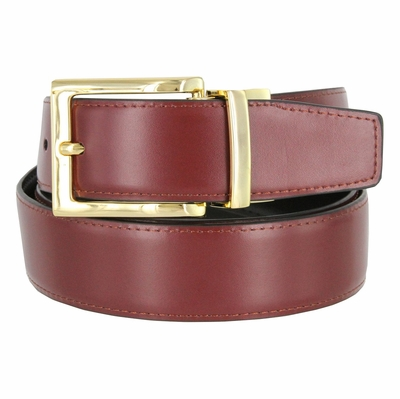 "RS7 Reversible Genuine Leather Dress Belt Gold Buckle - 1 3/8"" wide"