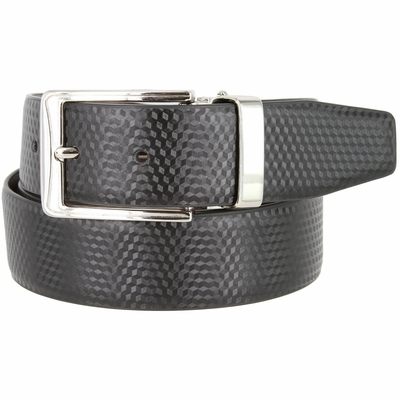"RS8 Men's Reversible Leather Dress Casual Belt 1-3/8"" wide - Black/Brown"
