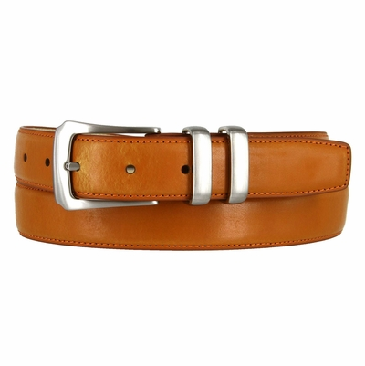 Silver Buckle Set Tan Leather Dress Belt