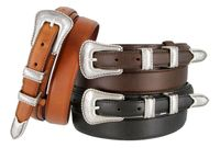 Silver Edge Men's Genuine Leather Ranger Belt