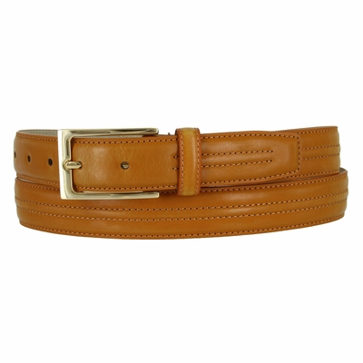 "Sleek Center Stitched Casual Dress Leather Belt - 1 1/8"" wide TAN"