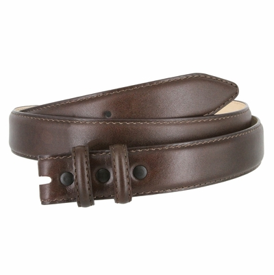 "1881 Smooth Genuine Leather Belt Strap 1 1/8"" wide (30 MM) with Two Loop - Brown"