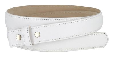 "Smooth Genuine Leather Dress Belt Straps with Snaps 1"" wide - No Holes - WHITE"