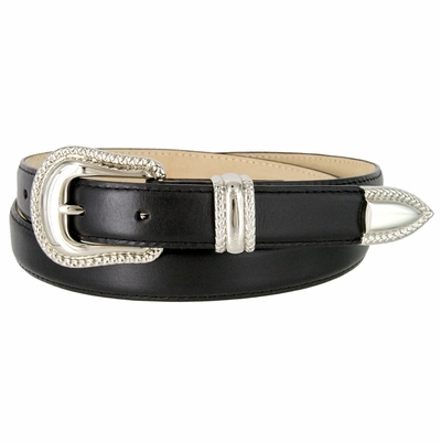 "1007 Smooth Genuine Leather Dress Belt with Rope Edge Style Buckle Set - 1"" Wide Black"