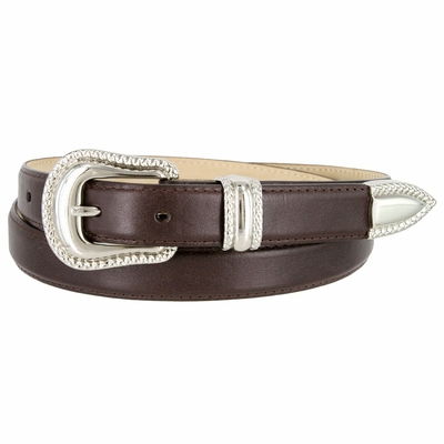 "1007 Smooth Genuine Leather Dress Belt with Rope Edge Style Buckle Set - 1"" Wide Brown"
