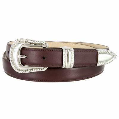 """1007 Smooth Genuine Leather Dress Belt with Rope Edge Style Buckle Set - 1"""" Wide Burgundy"""