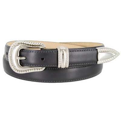 "1007 Smooth Genuine Leather Dress Belt with Rope Edge Style Buckle Set - 1"" Wide Gray"