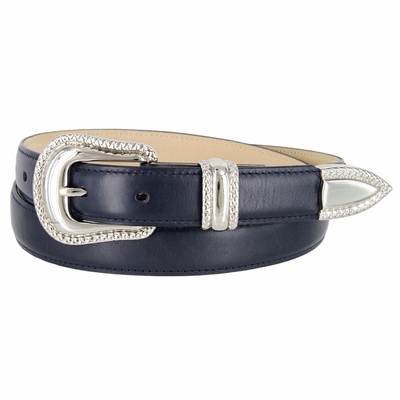"1007 Smooth Genuine Leather Dress Belt with Rope Edge Style Buckle Set - 1"" Wide Navy"