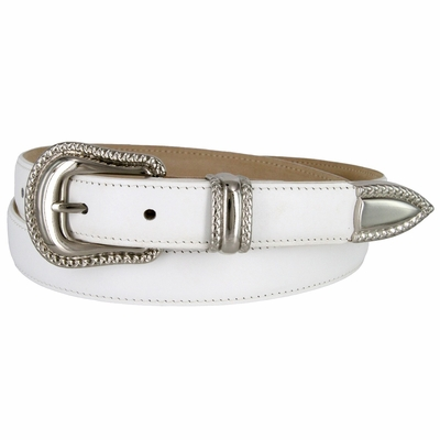"1007 Smooth Genuine Leather Dress Belt with Rope Edge Style Buckle Set - 1"" Wide White"