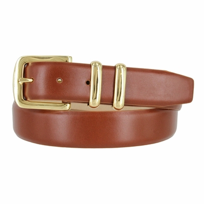 "Smooth Leather Belt and Feathered Edges - 1 3/8"" wide"