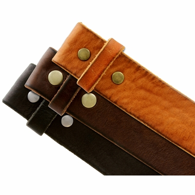 "4040 Solid One Piece Genuine Leather Belt Strap Without Slot Hole 1-1/2"" Wide"