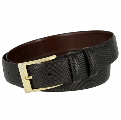 3560 Stippled Style Leather Casual Dress Belt Polished Gold Plated Buckle