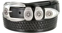 "1027 Texas Ranger Basket-weaved Genuine Leather Belt - 1 1/2"" Wide - Billet 1"" - BLACK"