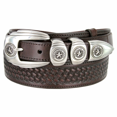 "1027 Texas Ranger Basket-weaved Genuine Leather Belt - 1 1/2"" - 1"" Wide BROWN"