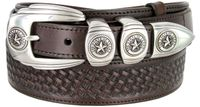 "1027 Texas Ranger Basket-weaved Genuine Leather Belt - 1 1/2"" Wide - 1"" Billet - BROWN"