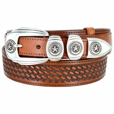 "1027 Texas Ranger Basket-weaved Genuine Leather Belt - 1 1/2"" - 1"" Wide TAN"