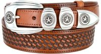 "1027 Texas Ranger Basket-weaved Genuine Leather Belt - 1 1/2"" Wide - Billet 1"" - TAN"