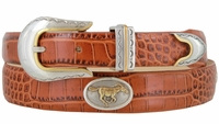 The Stallion - Tapered Genuine Italian Calfskin Leather Golf Belt with Horse Conchos