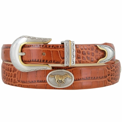 501 The Stallion - Tapered Genuine Italian Calfskin Leather Golf Belt with Horse Conchos