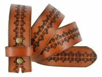 Tooled Leather & Embossed Studded Belt Straps