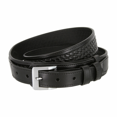 "1025 Traditional Ranger Basket-weave Embossed Full Grain Leather Belt - 1 1/2"" - 1"" Wide BLACK"