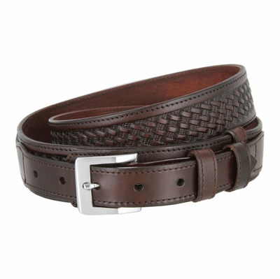 "1025 Traditional Ranger Basket-weave Embossed Full Grain Leather Belt - 1 1/2"" Wide - Billet 1"" - BROWN"