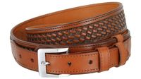 "1025 Traditional Ranger Basket-weave Embossed Full Grain Leather Belt - 1 1/2"" Wide - Billet 1"" - TAN"